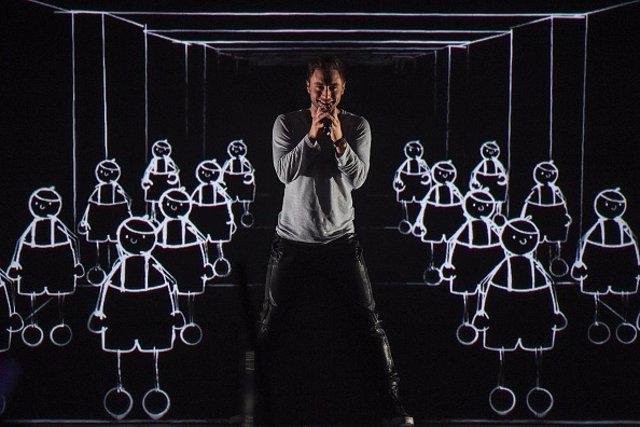 Imagen de Mans Zelmerlöw en la 60 edición del Festival de Eurovisión