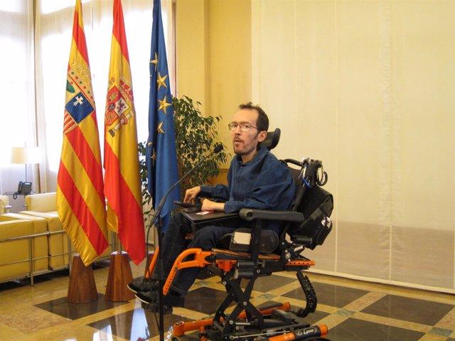 Pablo Echenique, este miércoles en la sede del Gobierno de Aragón