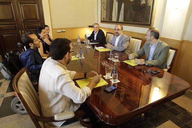 Lambán y Echenique se han reunido este miércoles en el Pignatelli