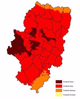 Mapa con prealerta roja + por riesgo de incendios forestales
