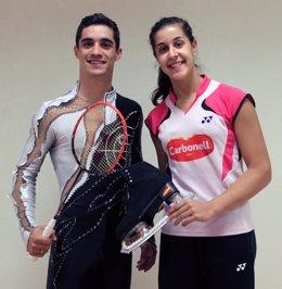 Javier Fernández junto a Carolina Marín en el Consejo Superior de Deportes