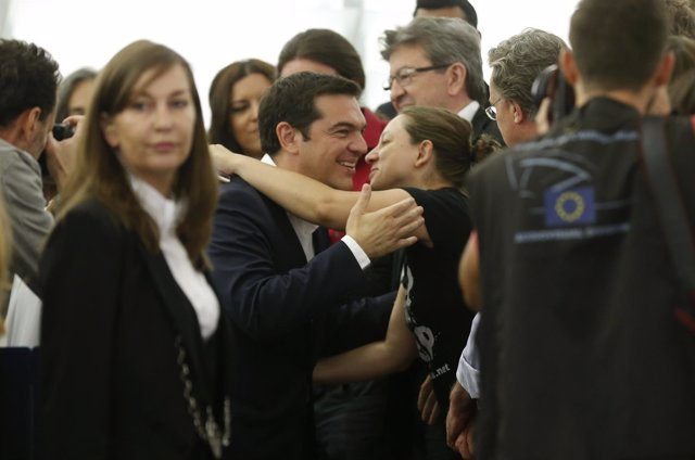 Tsipras a su llegada a la Eurocámara