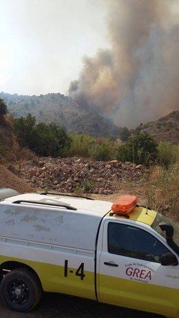Panorámica del incendio en Gualchos y Lújar