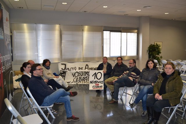 Trabajadores del Consorcio de Joyería durante un encierro en enero