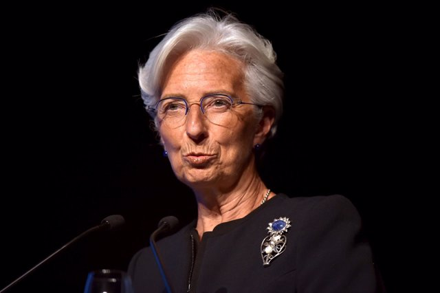 International Monetary Fund Managing Director Lagarde speaks during a conference