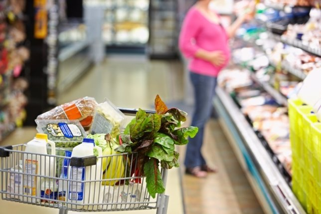 Embarazada, embarazo, mujer, bebé, alimentación, supermercado
