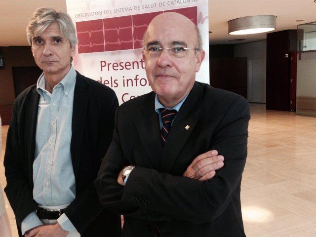 El director de la Aquas, Josep Maria Argimon, y el conseller de Salud, Boi Ruiz