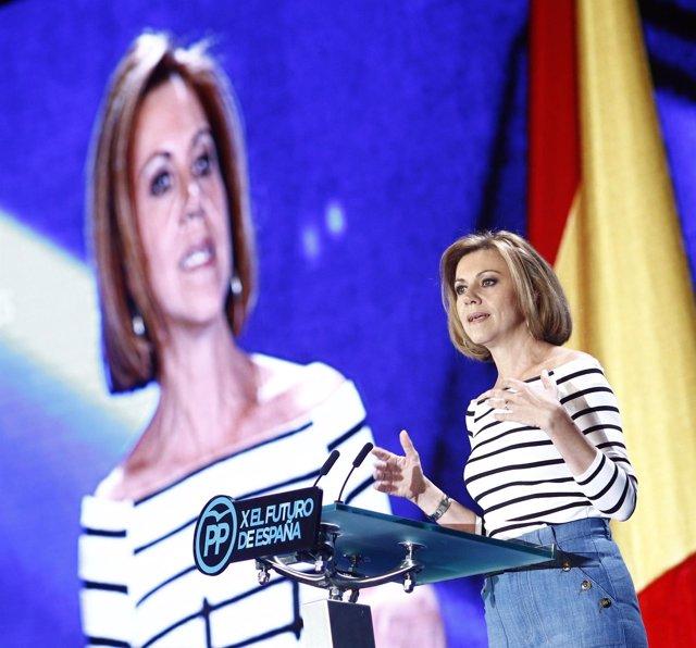 María Dolores de Cospedal en la conferencia del PP