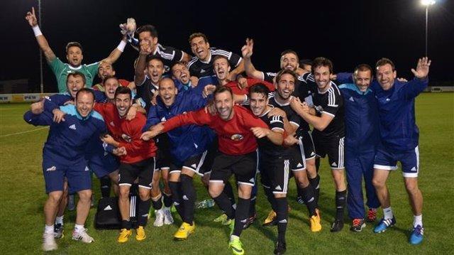 El equipo de Sesiones AFE en su partido ante Austria