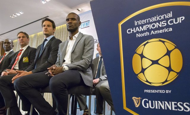 Yorke, Cudicini and Abidal attend a news conference in New York