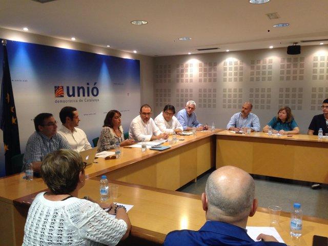 R.Espadaler, con la ejecutiva de UDC en Barcelona
