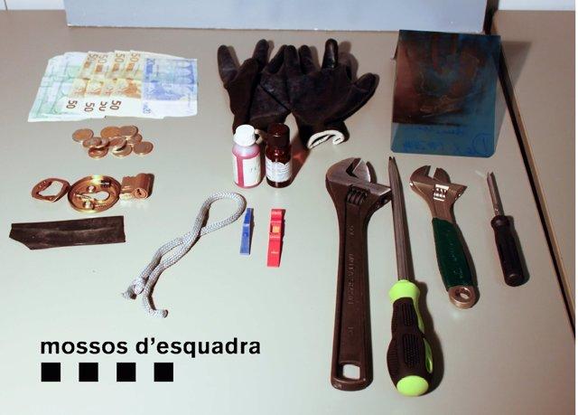 Material decomisado a ladrones en Barcelona