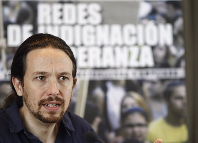 Pablo Iglesias durante la presentación de Redes de indignación y esperanza