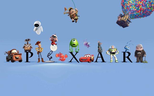 Logo de Pixar con personajes del estudio