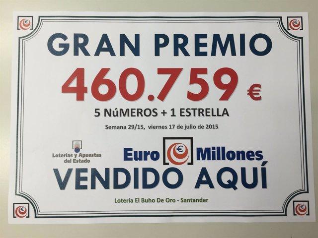 Premio del sorteo Euromillones