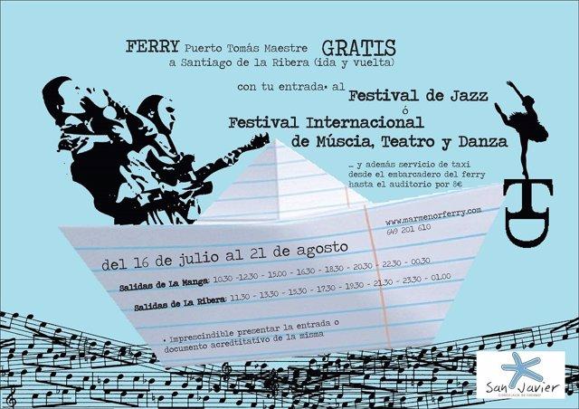 Ferry gratuito para ir desde La Manga a los festivales de San Javier