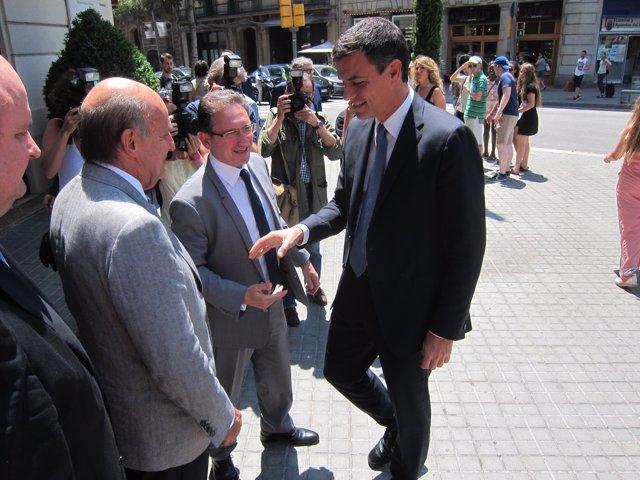 El líder del PSOE, Pedro Sánchez, y el 'padre' de la Constitución Miquel Roca.