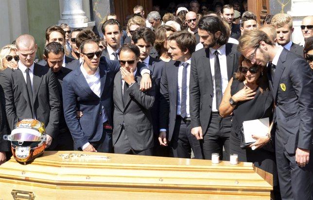 Jean-Eric Vergne, Felipe Massa y Pastor Maldonado en el funeral de Bianchi