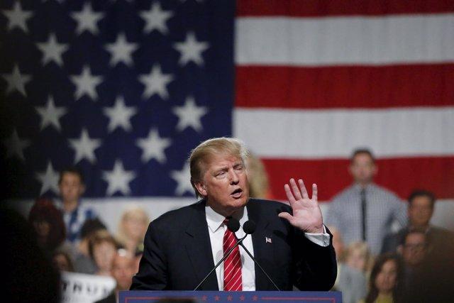 U.S. Republican presidential candidate Donald Trump speaks during a campaign eve