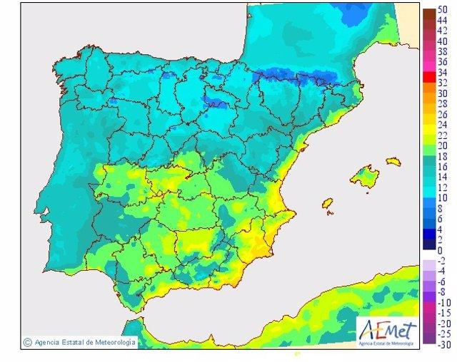 Mapa de las mínimas en España