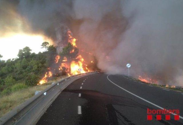 El incendio forestal de Òdena