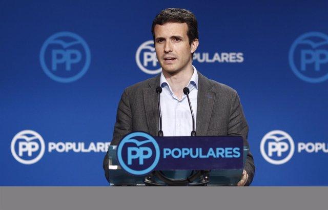 Pablo Casado tras la reunión del Comité de dirección del PP