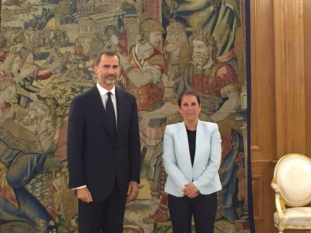 El Rey Felipe VI recibe a la presidenta de Navarra, Uxue Barkos