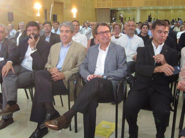 F.Homs, Artur Mas e I.Tibau, en el Congreso del Deporte Catalán