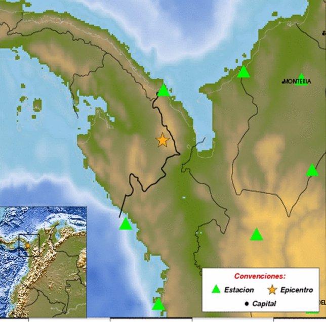 Registrado un terremoto de magnitud 6,1 en la frontera entre Colombia y Panamá