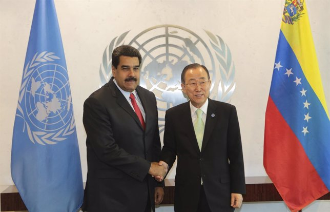 Secretario General ONU, Ban Ki-moon y el presidente de Venezuela, Maduro