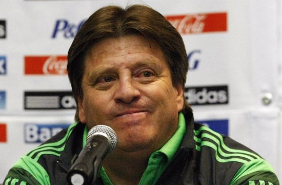 Mexico's coach Miguel Herrera gestures during a news conference in Mexico City