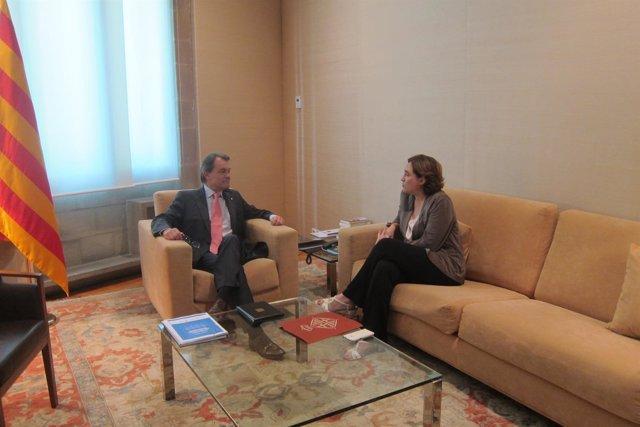 Reunión entre Artur Mas y Ada Colau en la Generalitat