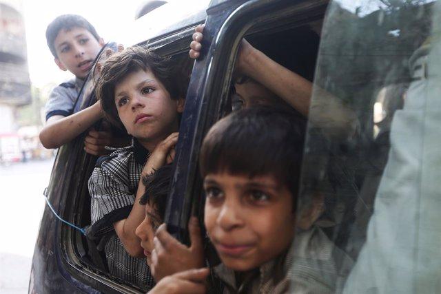Niños sirios en Damasco
