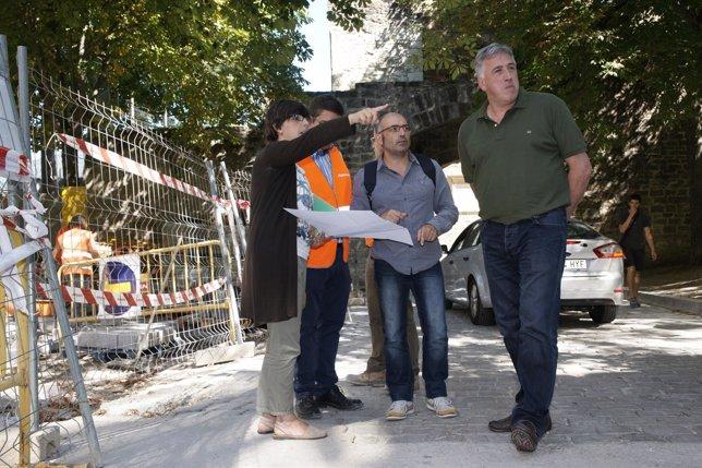 Abaurrea y Asiron visitando las obras