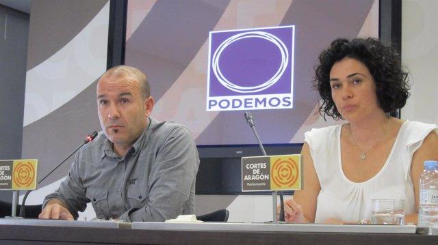 Los diputados de Podemos en las Cortes de Aragón, Carlos Gamarra y Erika Sanz