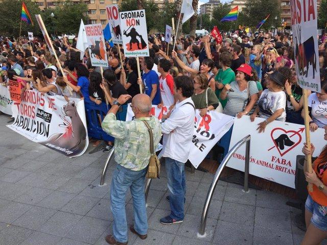 Manifestación antitaurina en Gijón, organizada por Anadel