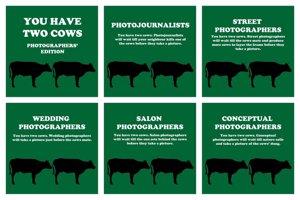 Distintos tipos de fotógrafos explicados con dos vacas