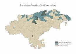 Mapa de Cantabra de generación de aceites industriales usados