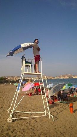 Un vigilante en una playa