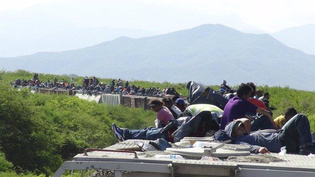Inmigrantes sobre el techo de 'La Bestia'
