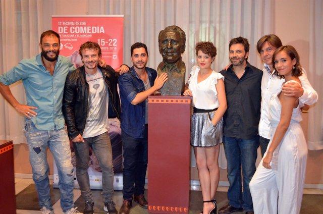 El director y parte de los protagonistas de 'La final', en Tarazona