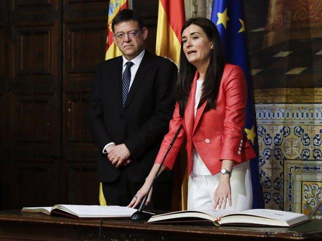 La consellera Carmen Montón, en la toma de posesión.