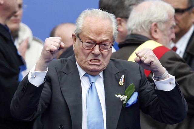 Jean-Marie Le Pen, France's National Front political party founder, reacts as he
