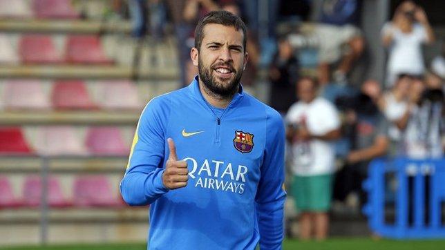 Jordi Alba en un entrenamiento con el FC Barcelona