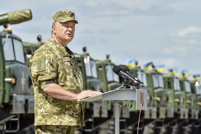 El presidente de Ucrania, Petro Poroshenko, en Jarkov