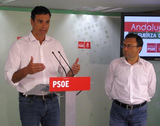 Pedro Sánchez y Miguel Ángel Heredia, PSOE