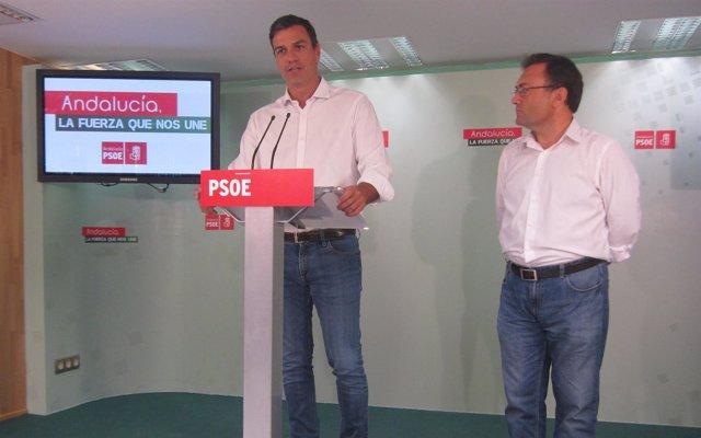Pedro Sánchez y Miguel Ángel Heredia, PSOE, en Málaga