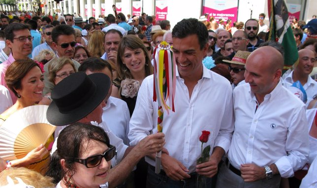 Pedro Sánchez en la Feria del Centro de Málaga