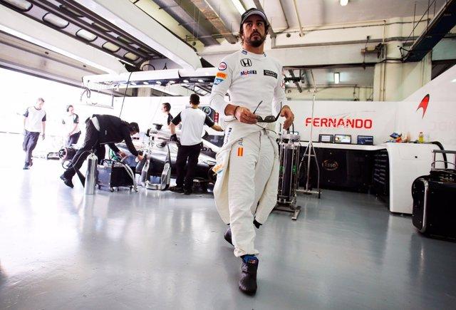 Fernando Alonso, con miembros del equipo McLaren