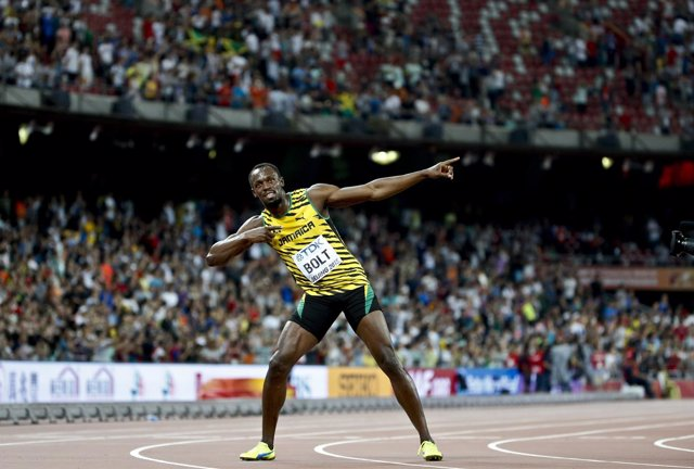 Usain Bolt tras ganar el oro en el Mundial de Pekín